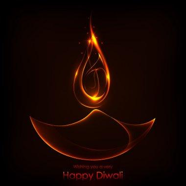 Illustration of burning diwali diya on Diwali Holiday background stock vector