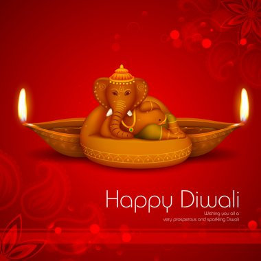 Illustration of Ganesha with diya on Diwali Holiday background stock vector