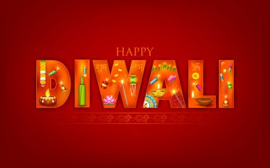 Illustration of Diwali background with puja object stock vector