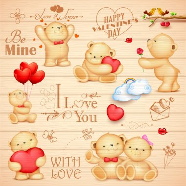 Illustration of teddy bear in different pose for love background clip art vector