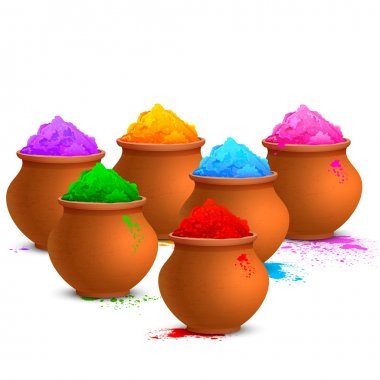 Illustration of colorful gulal ( colors powder ) for Happy Holi stock vector