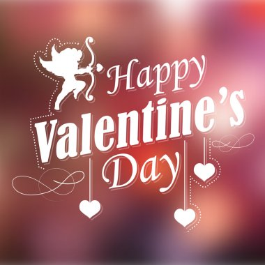 Illustration of retro Happy Valentines Typography Background stock vector