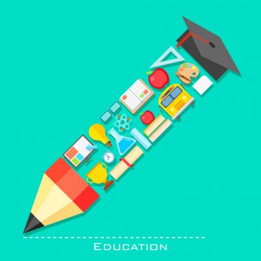 Education icon in shape of Pencil