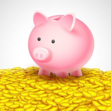 Piggy Bank on heap of gold coin