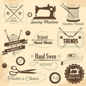 Vintage stylu šití a Krejčí popisek