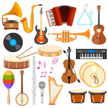 Illustration of music instrument in flat style stock vector