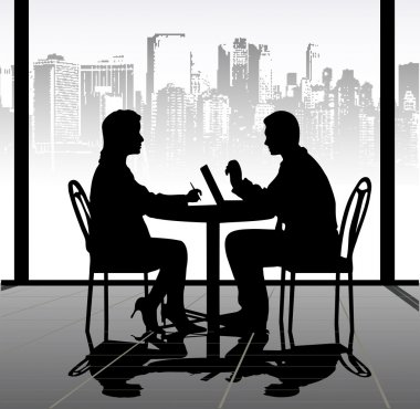 On the image silhouettes of businessmen at a table are presented clip art vector