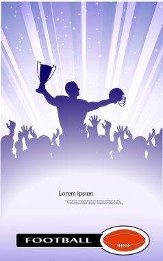 Abstract silhouette of the champion on soccer
