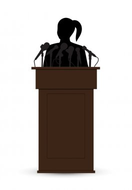Silhouette of a woman with a microphone