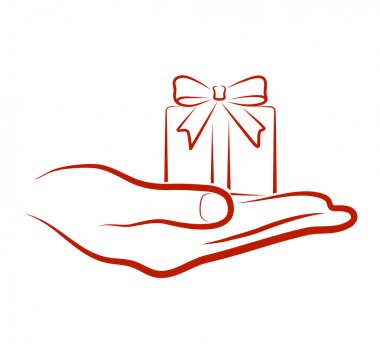 Hand brings a gift