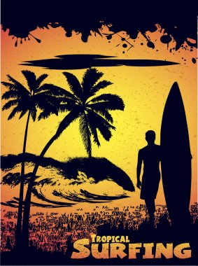Silhouette of a surfer on a tropical beach