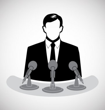 Male journalist before a microphone