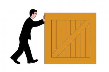Man pushing a box