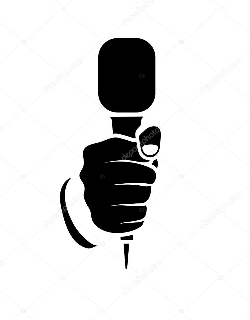 Mano Con Un Microfono Su Sfondo Bianco Vettoriali Stock Matc
