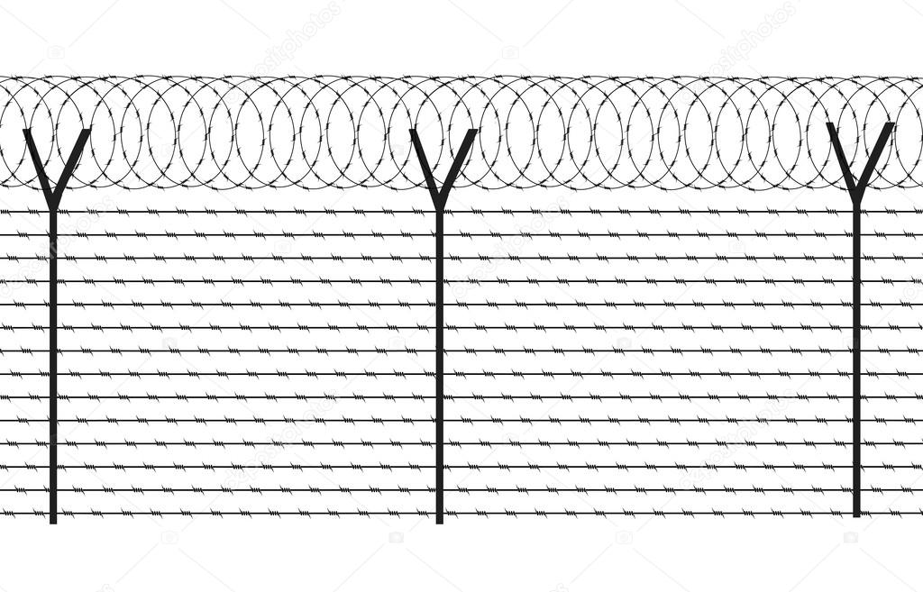Fencing element from a barbed wire — Stock Vector © matc #45690321