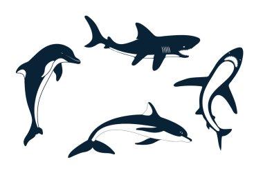Silhouette of marine mammals