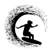 Fényképek sziluettje a szörfös, egy óceán hullám, a grunge stílus