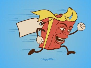 Isolated funny gift box cartoon character