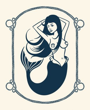 Winking mermaid illustration