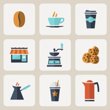Flat design coffee icons set