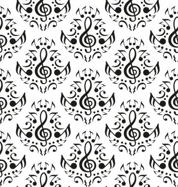 Musical notes seamless pattern
