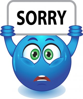 Blue smiley apologizes