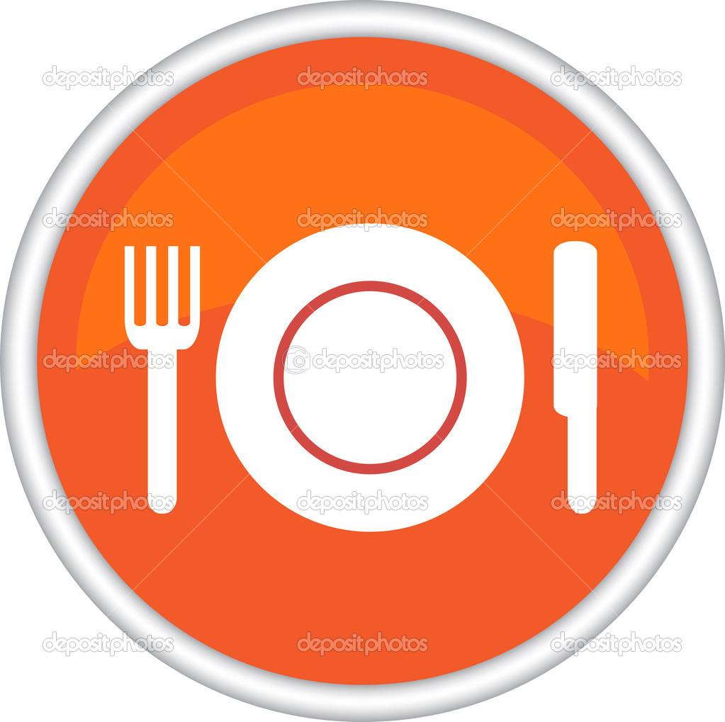 S mbolo del restaurante con plato tenedor cuchillo for Plato tenedor y cuchillo