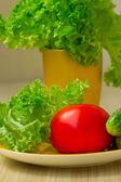 salát s rajčaty, okurkou a salátem