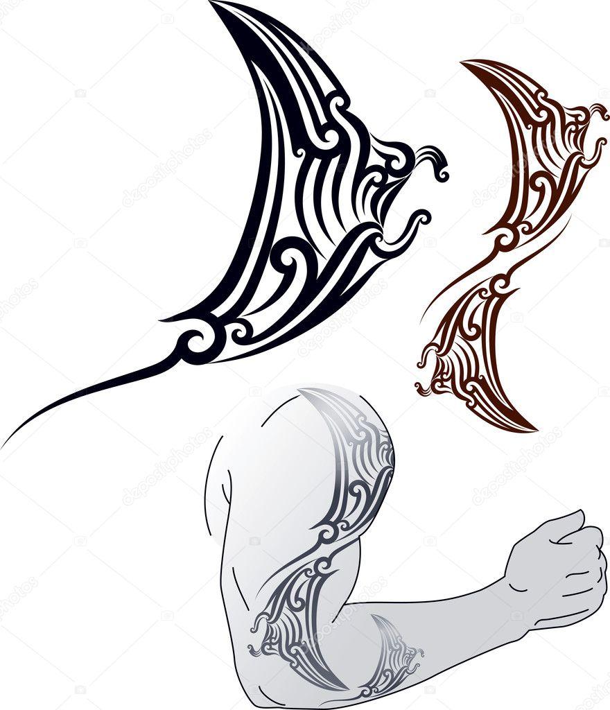 Conception De Tatouage Maori Manta Image Vectorielle