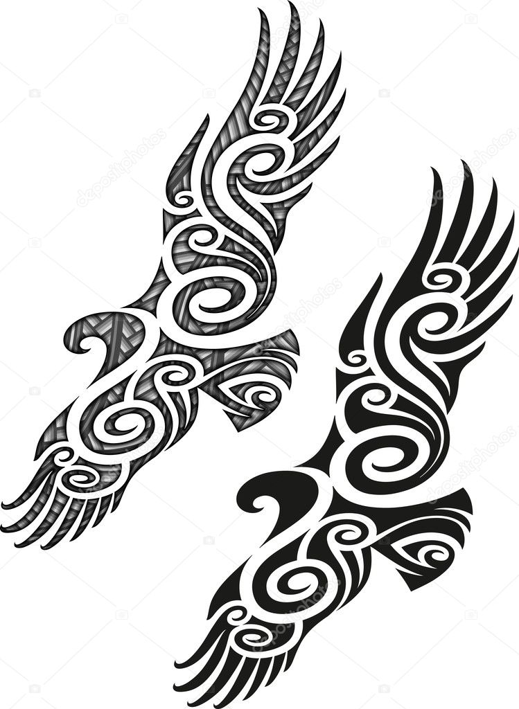 maori tattoo muster adler stockvektor 35808431. Black Bedroom Furniture Sets. Home Design Ideas