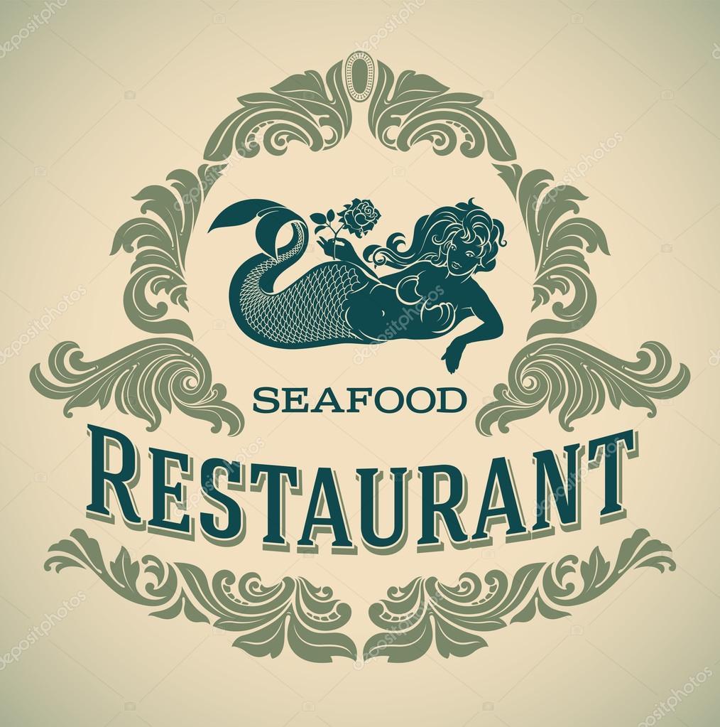 etiqueta de restaurante de mariscos sirena — Archivo Imágenes ...