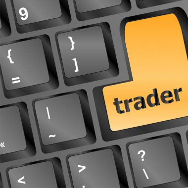 Trader keyboard representing market strategy - business concept
