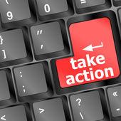 přijmout akční červený klíč na klávesnici počítače, obchodní koncepce