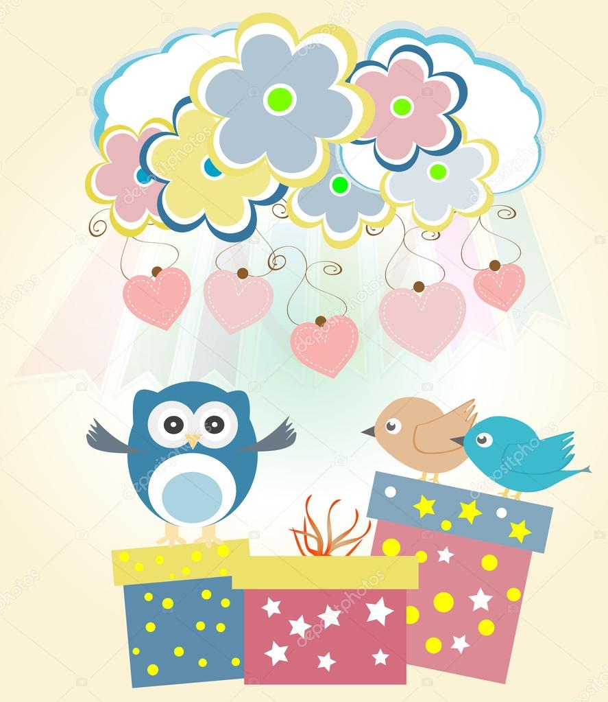 Background with heart, flower, owls, gift boxes and birds