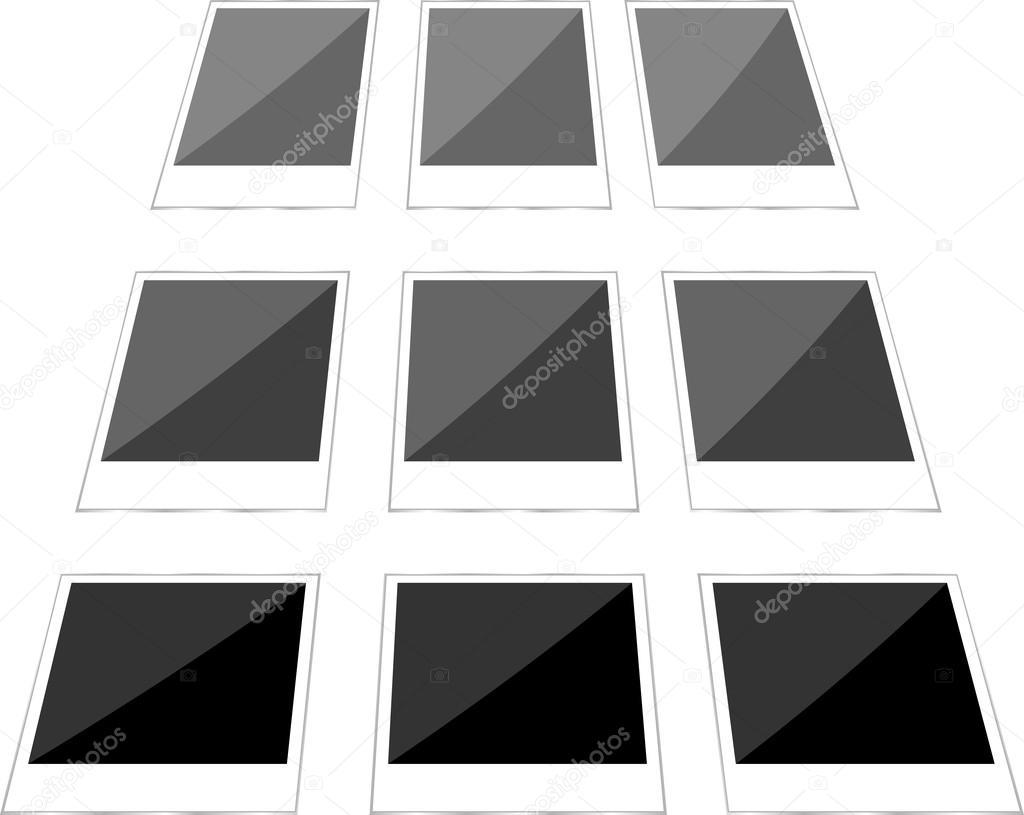 collage de imágenes instantáneas en blanco. Foto marco set — Fotos ...