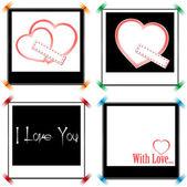 Set of vintage frames in shape of a heart. Element for design