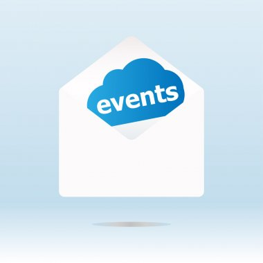 events word on blue cloud on envelope