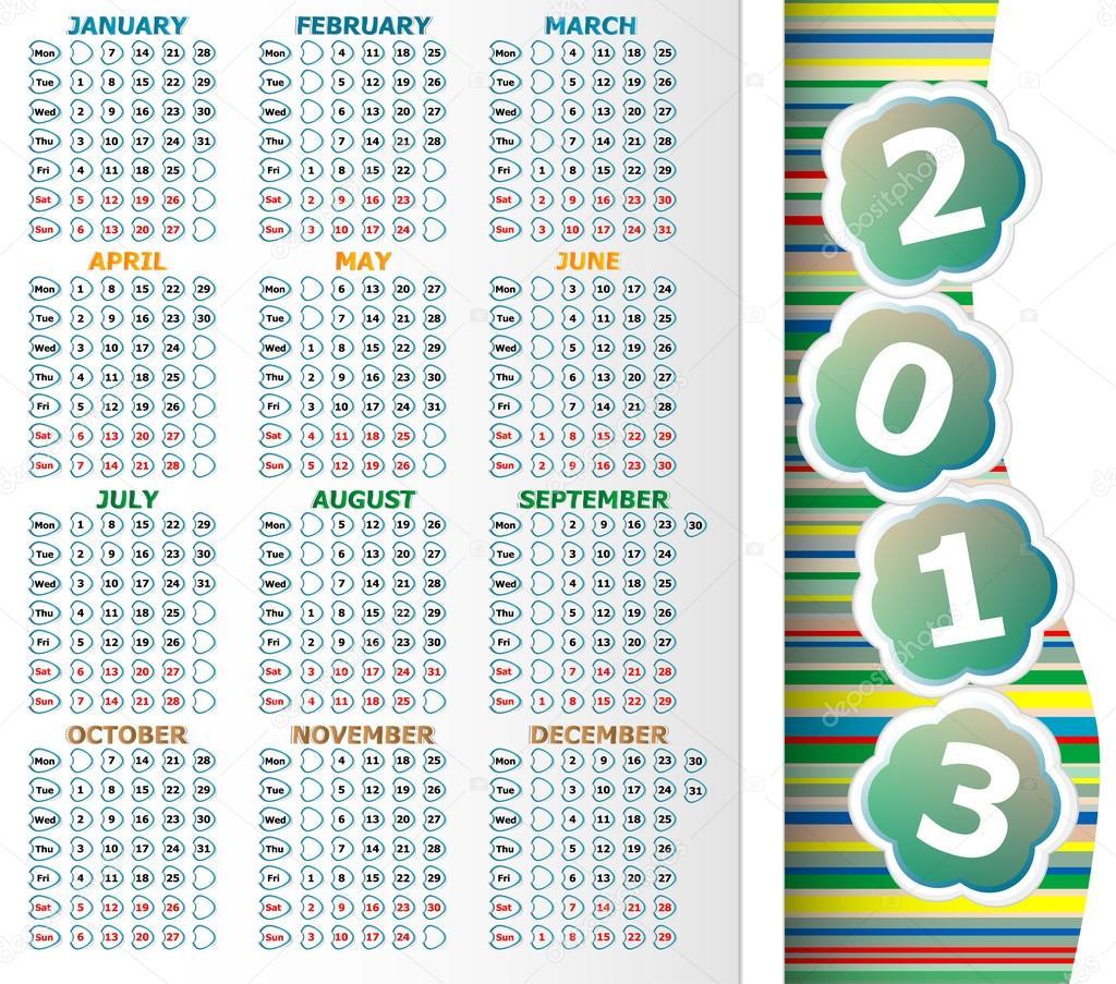 simple 2013 year calendar stock photo fotoscool 25334749
