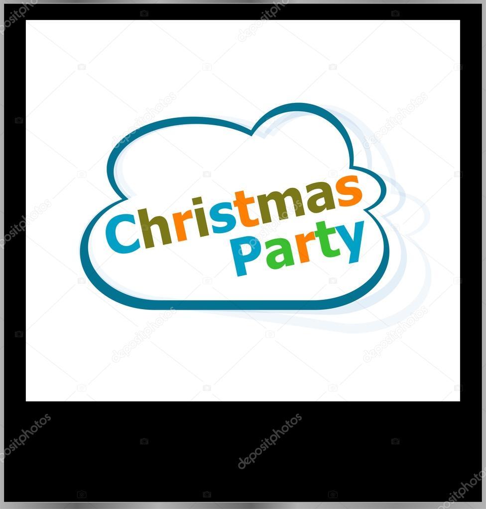 Christmas Party Urlaub Wort auf Wolke, isolierte Fotorahmen ...