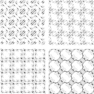 Geometric seamless patterns set, backgrounds collection