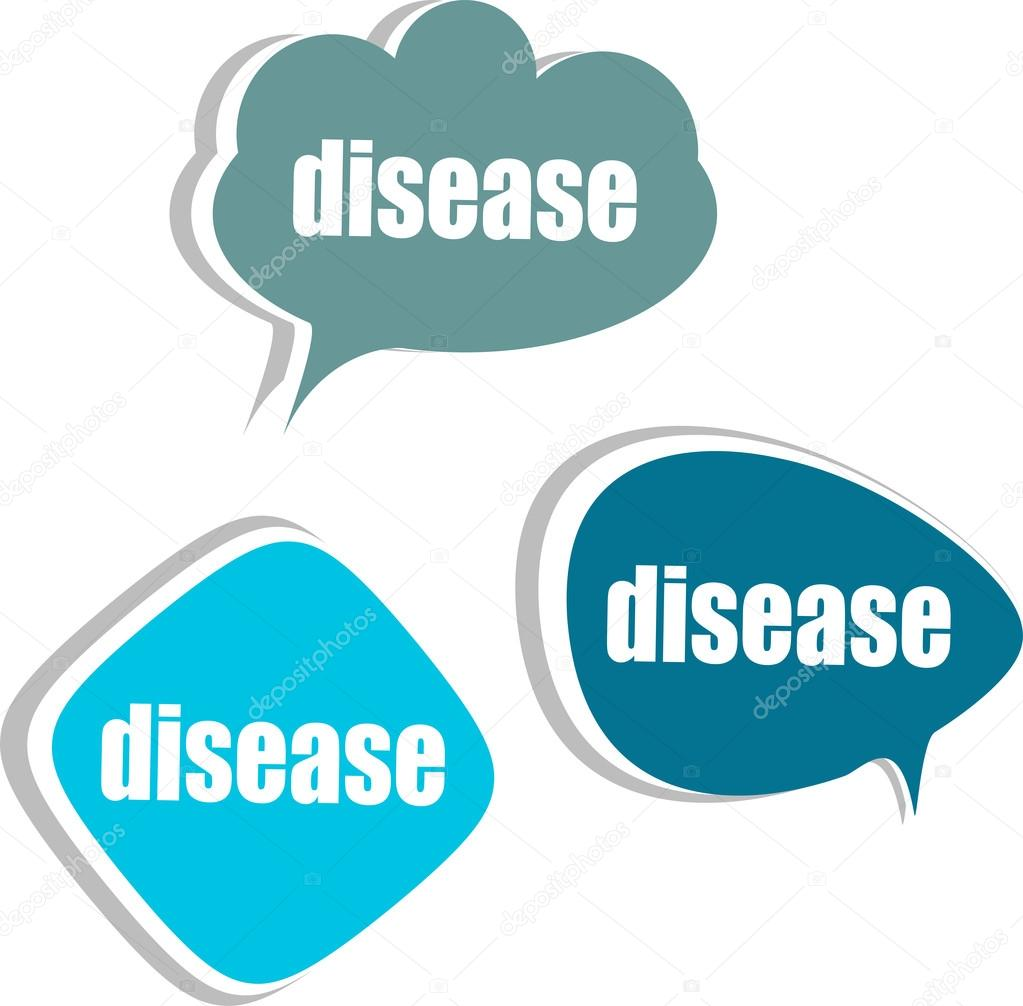 Disease word on modern banner design template. set of stickers, labels, tags, clouds
