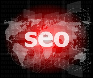 The word seo on digital screen, it concept