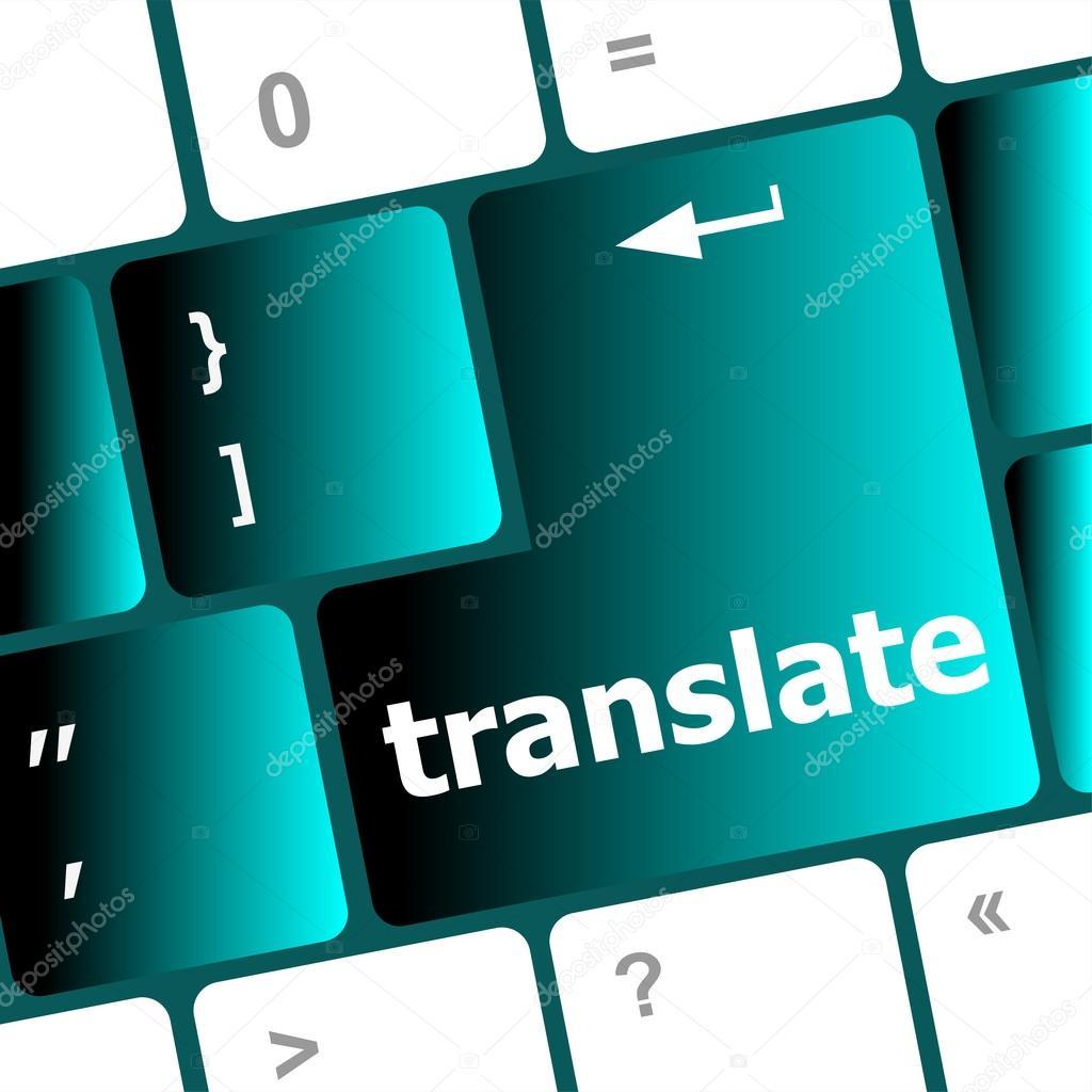 Multilingual translation on-line concept  Close up of multi