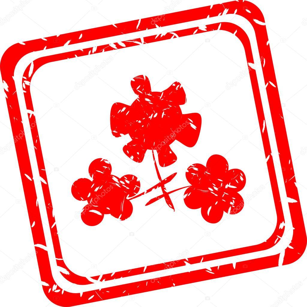 flower symbol on red grunge web stamp