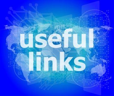 SEO web design concept: useful links on digital background