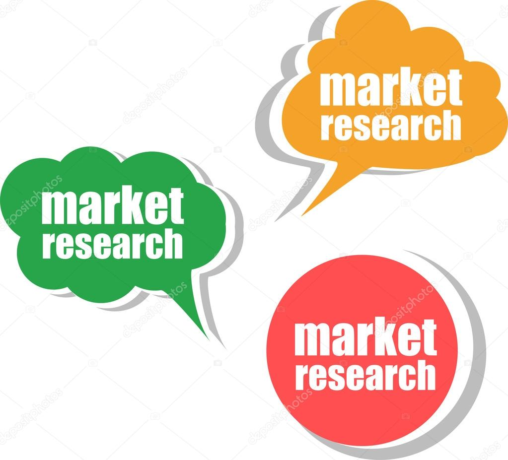 investigación de mercado, conjunto de pegatinas, etiquetas ...
