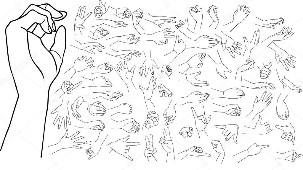 handen tekenen — stockvector © grivina #23367490