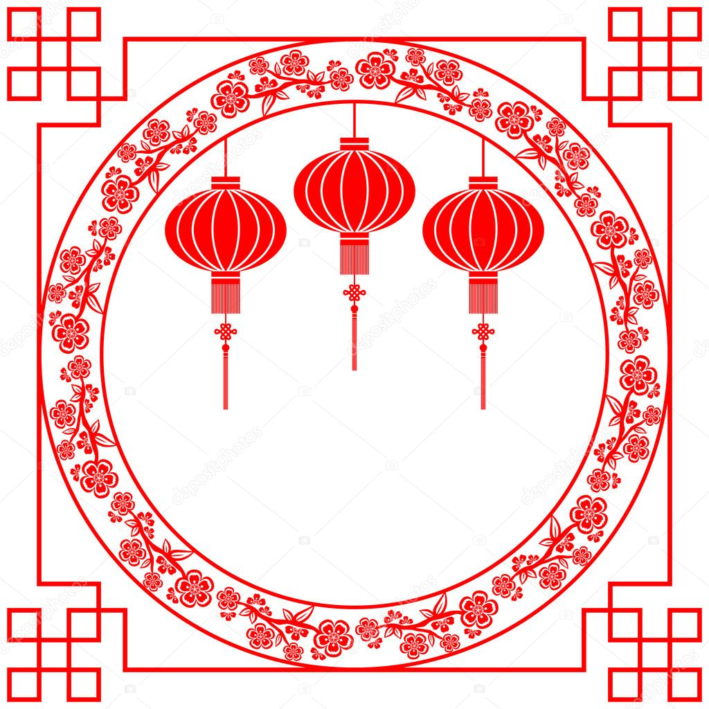 Chinese Calendar Illustration : Chinese new year red lantern background — stock vector