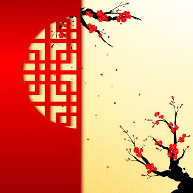Chinese New Year Cherry Blossom Greeting Card stock vector