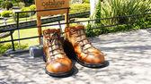 Gulliver obří boty v catalunya v malém